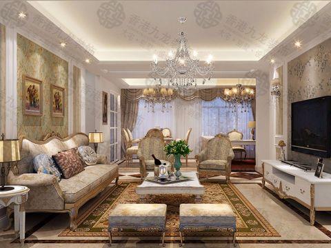 现代欧式风格150平米三室两厅新房装修效果图