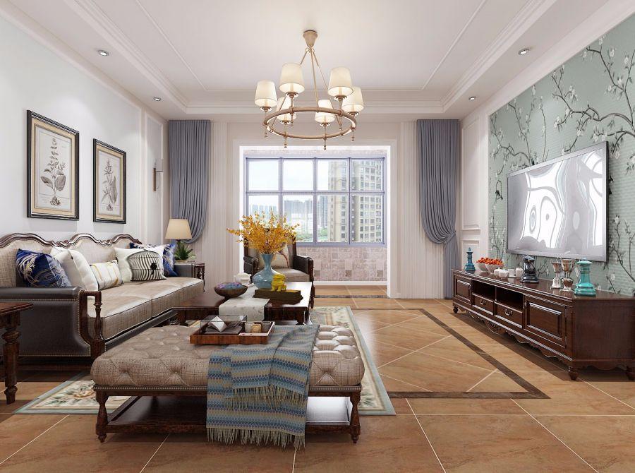 美式110平三居室装修效果图