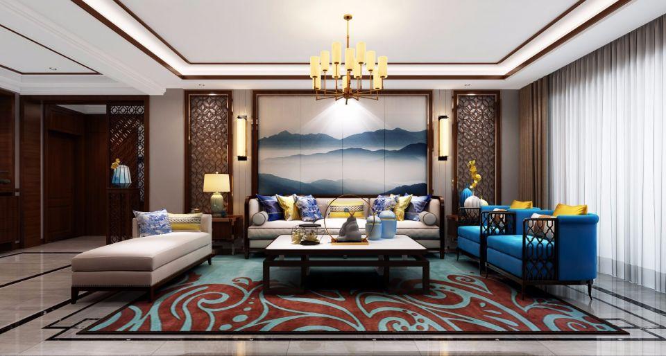 新中式风格150平米四室两厅新房装修效果图