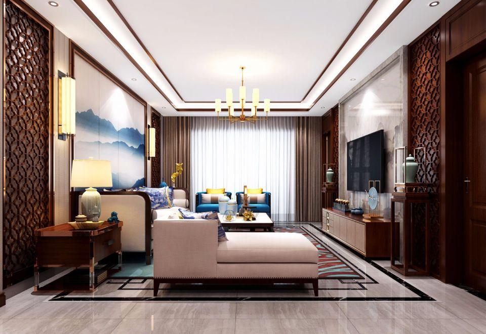 客厅沙发新中式风格装饰图片