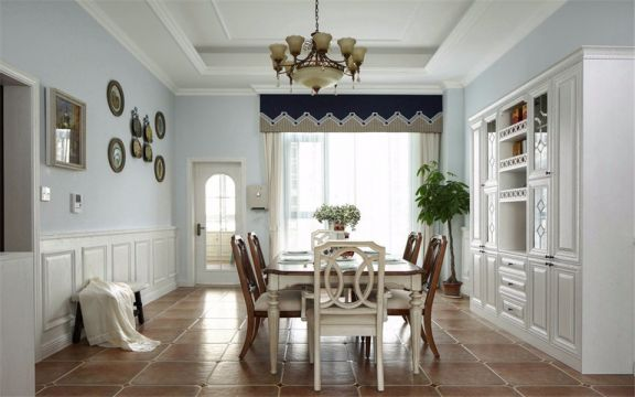 餐厅白色吊顶美式风格装饰设计图片
