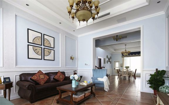 客厅彩色沙发美式风格装潢设计图片