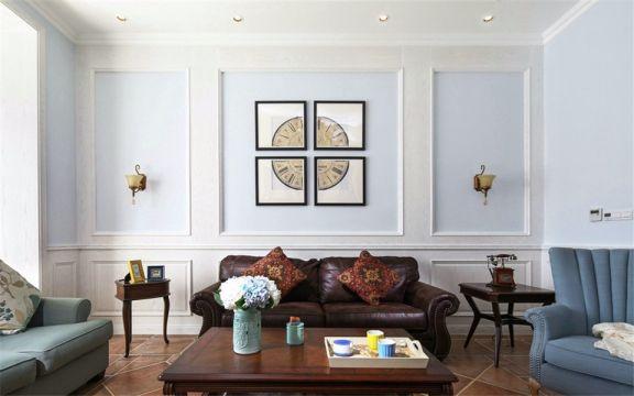 客厅白色窗帘美式风格装修效果图