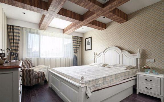 卧室彩色窗帘美式风格装饰效果图