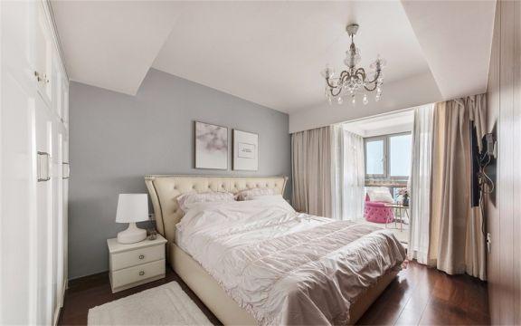 卧室咖啡色窗帘美式风格装修设计图片