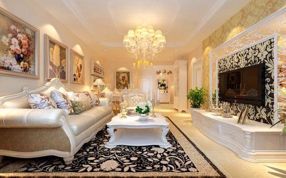 58平米美式风格二居室装修效果图