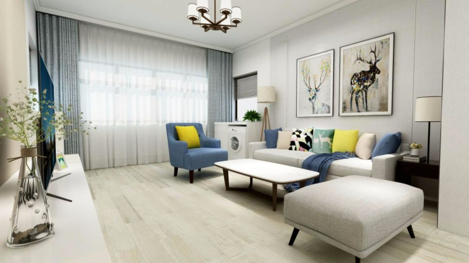 120平三室两厅现代简约装修效果图