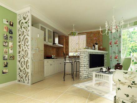 客厅窗帘田园风格装潢设计图片