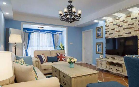 地中海风格110平米三室两厅新房装修效果图