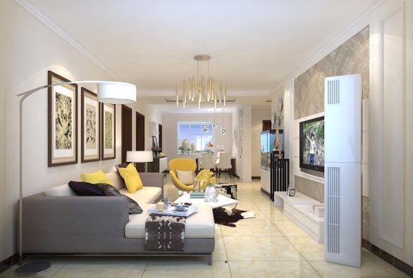 鲁商常春藤146平三居室现代简约装修效果图