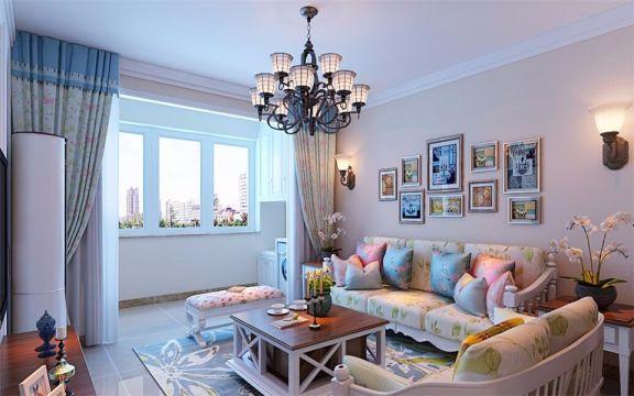 中海国际社区92两室两厅田园风格装修效果图