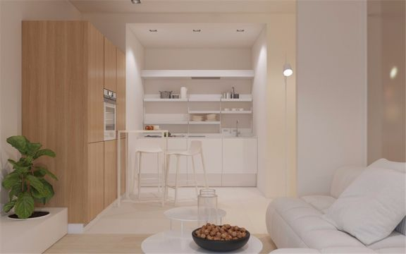 长虹路后街小区53平混搭风格两室一厅一卫装修效果图