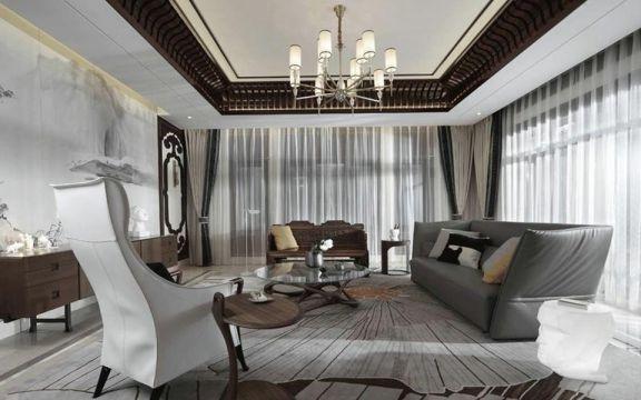 混搭风格160平米三室两厅新房装修效果图