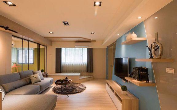 现代简约风格94平米三室两厅新房装修效果图