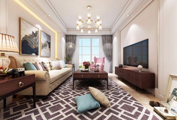 美式风格120平米两室两厅新房装修效果图