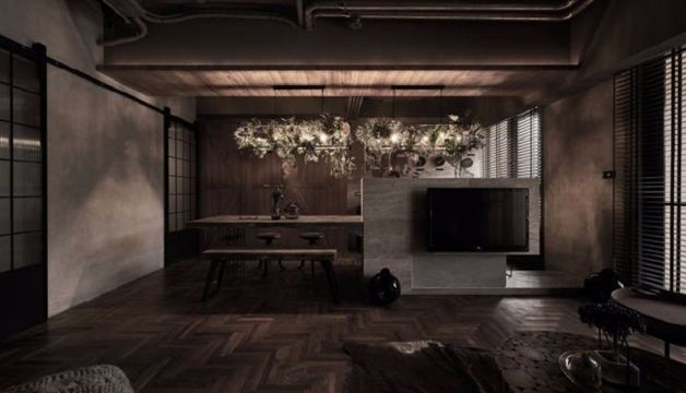 客厅地板砖后现代风格装潢效果图