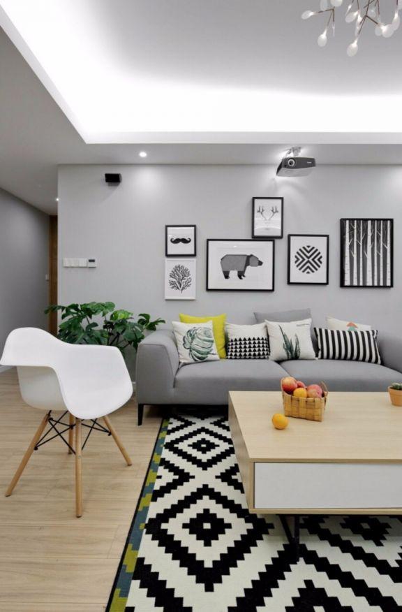 小巧玲珑灰色客厅室内装饰