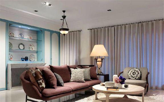 混搭风格102平米三室两厅新房装修效果图