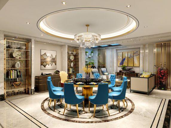 新中式风格750平米别墅新房装修效果图