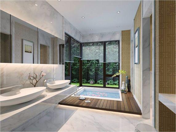 浴室洗漱台新中式风格装修设计图片