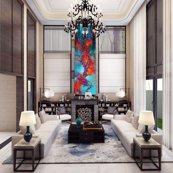 新中式风格1100平米别墅新房装修效果图