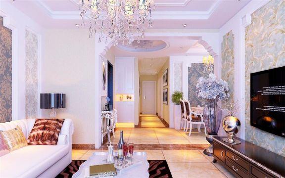 起居室走廊简欧风格装修设计图片