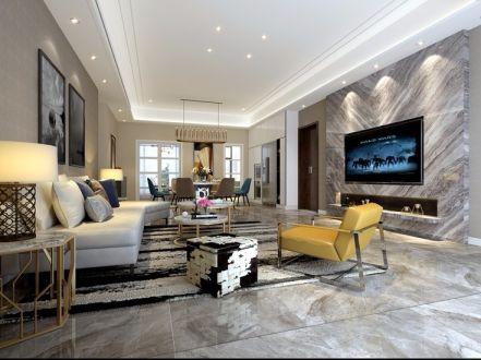 现代中式风格207平米四室两厅新房装修效果图
