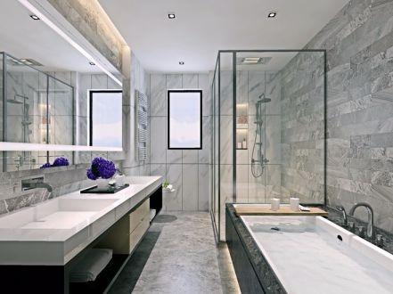 卫生间洗漱台现代中式风格装饰效果图