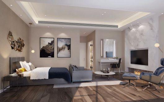 卧室床现代中式风格装潢效果图
