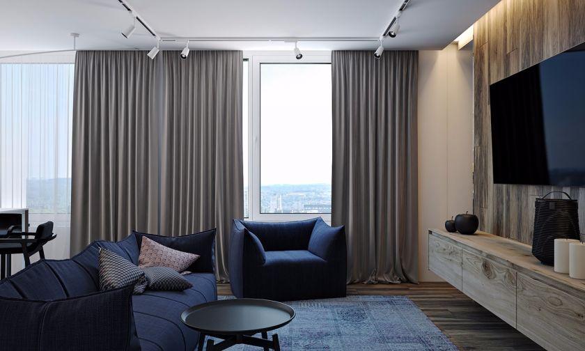 香榭丽公馆87平两室一厅简中风格装修效果图