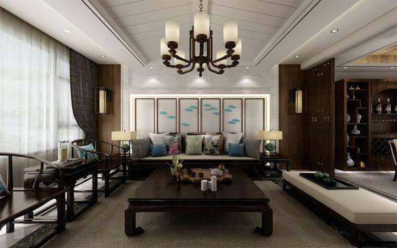 客厅灯具新中式风格装潢效果图