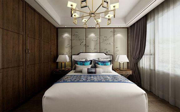 卧室背景墙新中式风格装潢设计图片