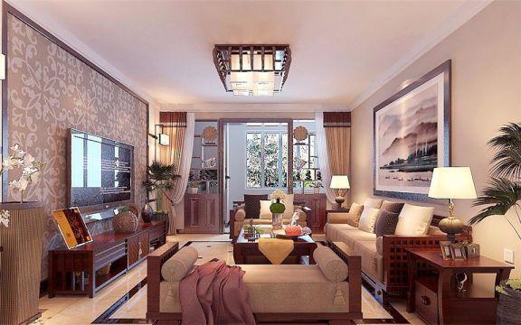 新中式风格150平米楼房室内装修效果图