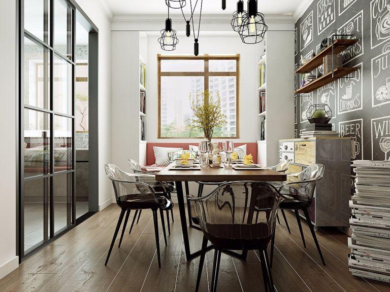 餐厅推拉门美式风格装修设计图片