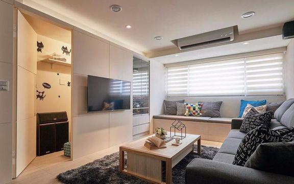 现代风格89平米3房2厅房子装饰效果图