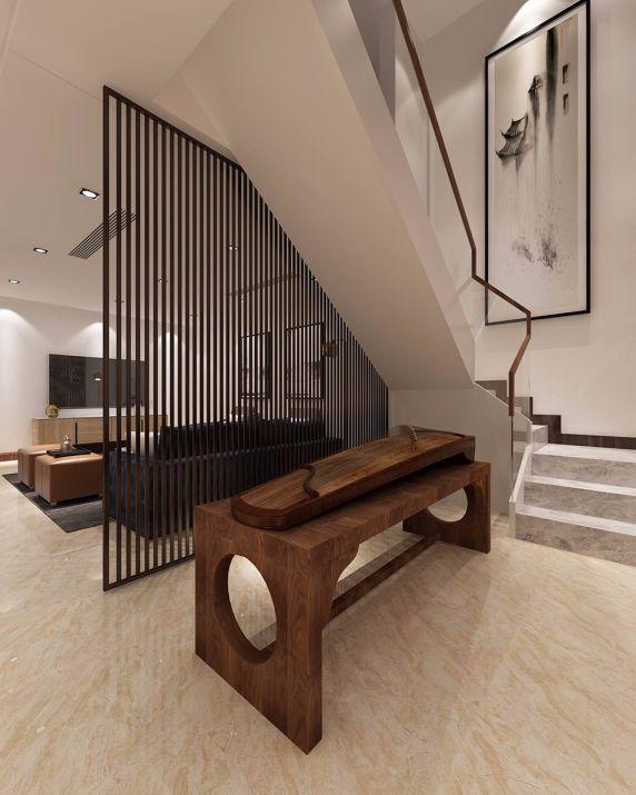 客厅楼梯中式风格装修图片