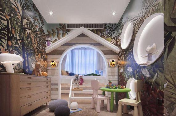 儿童房背景墙欧式风格装潢图片