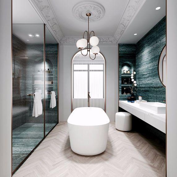 浴室浴缸法式风格装饰效果图