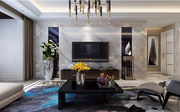 客厅背景墙现代简约风格装修设计图片