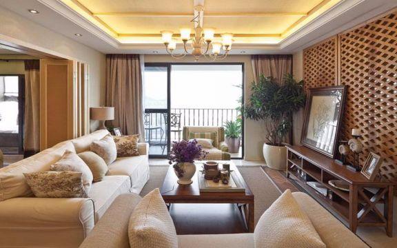 观澜时代125平米美式风格三居装修效果图