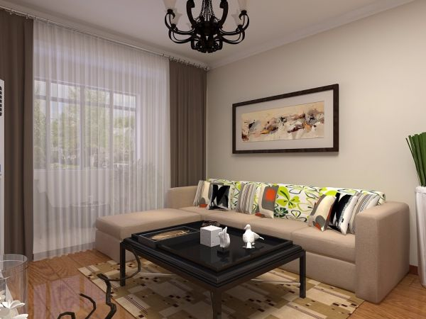 鲁商常春藤66平现代简约风格一居室装修效果图