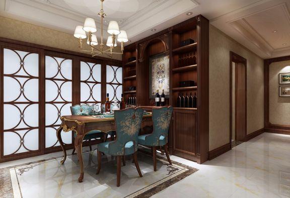 餐厅推拉门美式风格装饰设计图片