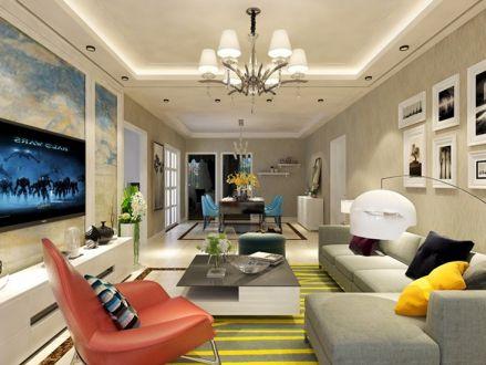 98平米两居室现代风格装修效果图