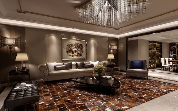 龙湖花千树港式风格300平米五室三厅装修效果图