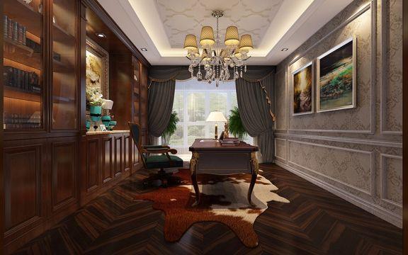 书房博古架简欧风格装潢设计图片
