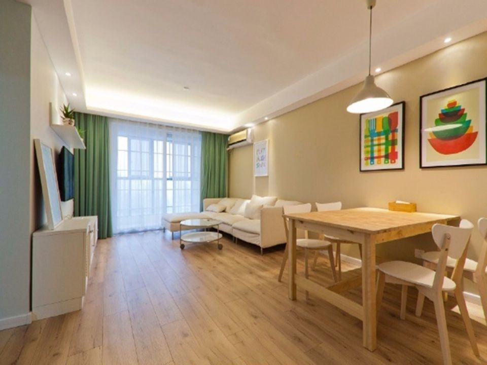 玉带园小区92平北欧风格两居室装修效果图