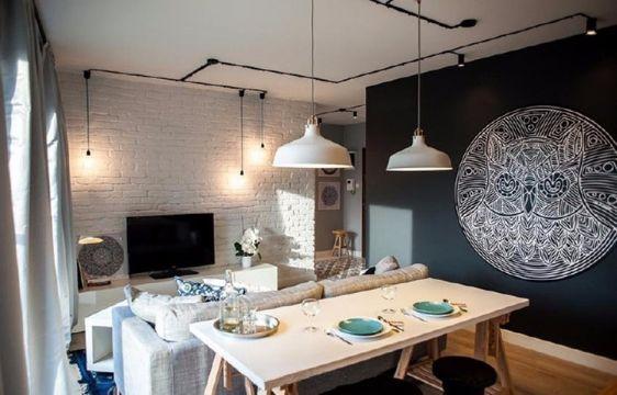 餐厅背景墙现代简约风格装潢图片