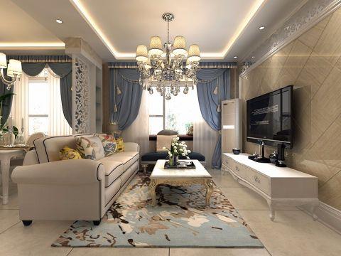 简欧风格80平米楼房室内装修效果图