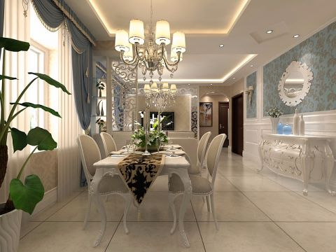餐厅窗帘简欧风格效果图