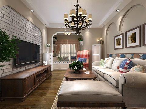 客厅背景墙田园风格装修设计图片